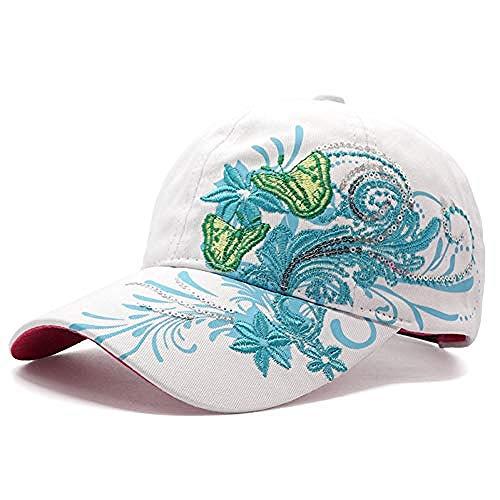 DWcamellia Hut Frauen S Blume Schmetterling Baseball Cap weibliche Stickerei Baumwolle Hut lässig Hip Hop Hut, White1