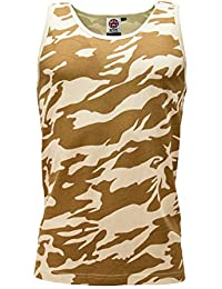 Mens Camouflage Sleeveless Cotton Vest Army Training Combat Gym Running Muscle by WWK / WorkWear King