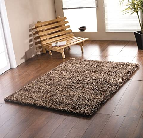 Large Heavy Weight Thick Luxurious Hand Tufted Wool Chocolate Colour Shaggy Rug in 110 x 170 cm (4' x 5'7