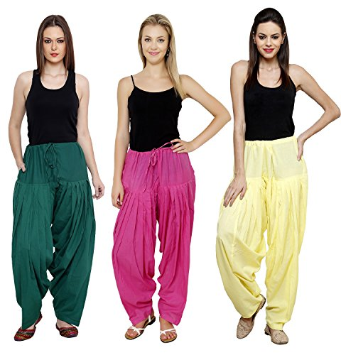 Pistaa Combo of Womens Solid Cotton Dark Green, Dark Pink And Lemon...