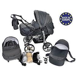 Baby Sportive - Sistema de viaje 3 en 1 - RUEDAS ESTÁTICAS y accesorios, color gris, lunares