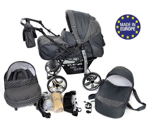 3-in-1 Travel System with Baby Pram, Car Seat, Pushchair & Accessories, Gray & Polka Dots 51G8oKbOY5L