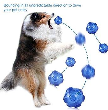 Petcomer Jouet Sonore Indestructible pour Chiens Balle Bondissant Imprévisible Jouet en Caoutchouc Non-Toxique pour Entaînement Interactive (Bleu)