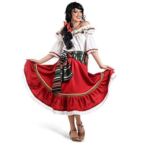 Faschings Kostüm Damen Tänzerin bunt Mexikanerin Karneval Zigeunerin roter Rock Bluse Carmenausschnitt Scherpe Rhytmus Verkleidung - L