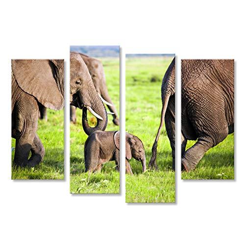 islandburner Cuadro Cuadros Familia de Elefantes en la Sabana Africana. Safari en...