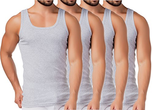 BestSale247 4 Stück Herren Unterhemd - Supergekämmte 100% Baumwolle(Grau-Melange, 6 | L)