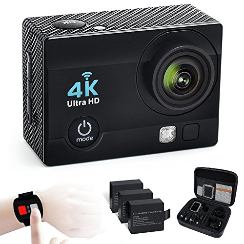 Sport Action Camera 4K 16MP WiFi Waterproof Action Cam 170 Degree Wide Angle with 3 Rechargeable Batteries and 2.4G Remote Control 19 Mounting Kits with Portable Package Black