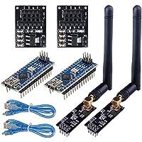 WayinTop 2Set RF Comunicación Transceptor Receptor Inalámbrico con Tutorial, NRF24L01 + PA + LNA Módulo con SMA Antena 2.4GHz 1100m + NRF24L01 3.3V Regulador + ATmega328P Board para Arduino Nano