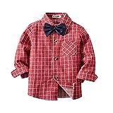 Zarupeng Kleinkind Baby Jungen Mädchen Langarm Plaid T-Shirts Revers Hemd Gentleman Shirt Krawatte Tops Kleidung Kinder Freizeithemd