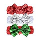 Fenical 3 stücke Weihnachten Haarband Baby Mädchen Pailletten Stirnbänder Glitter Pailletten Bogen Elastische Sparkle Kopfschmuck