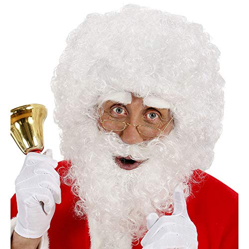 Widmann 1530B Weihnachtsmann Perücke und lockiger Bart mit Augenbrauen, weiß -