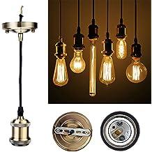 GreenSun Vintage colgante luz Kit RQ, envejecido DIY lámpara de techo Loft industrial, colgante retro lámpara de araña, Base E27Cerámica Lámpara Soporte, 3Core Cable de 1,35M