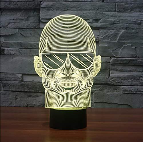 3D Led Nachttischlampen 7 Farben Bunte Visuelle Nachtlicht Mit Sonnenbrille Mann Modellierung Schreibtischlampe Für Schlafzimmer Usb Lampendekor Nacht Leuchte
