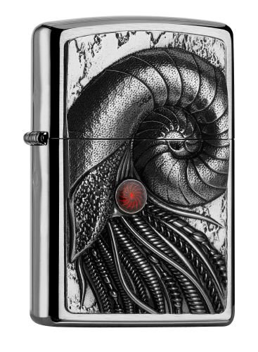Zippo 2.005.055 Feuerzeug Cyber Nautilus Collection Spring 2016, geb&uumlrstet chrom