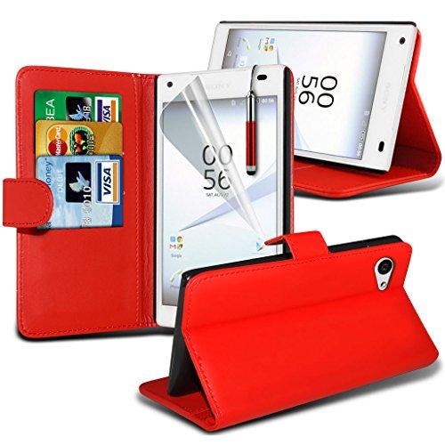 Étui pour Sony Xperia Z5 Premium / Sony Xperia Z5 PREMIUM DUAL Titulaire de téléphone Case voiture universel Mont Cradle Dashboard & pare-brise pour iPhone yi -Tronixs Wallet + Pen( Red )