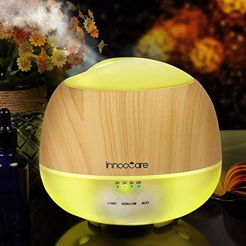 InnooCare 500ml Humidificador Ultrasónico Aromaterapia Difusor de Aceites Esenciales Difusor de Aroma 7 Colores LED 4 Temporizadores Vapor Frío Perfecto Casa, Dormitorio, Baño, Yoga, Sauna y Oficina