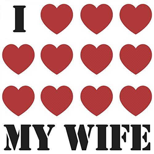 Fashionalarm Herren T-Shirt - I Love My Wife | Fun Shirt mit Spruch als Valentinstag & Jahrestag Geschenk Idee für verliebte Paare Weiß