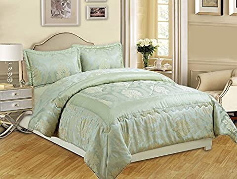 3-teiliges Luxus-Bettwäsche-Set, Jacquard, gesteppte Tagesdecke, Größe Doppelbett/King Size, Betty Light Green, Double (220x240 (3-teiliges Set Bett)