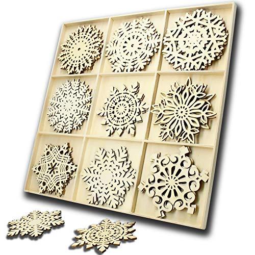 JHYQ-DE 27 Teiliges Set Holz Anhänger Schneeflocke,hölzern Verzierungen Form Deko Weihnachten DIY Handwerk holzherzen Stück,Holzscheiben Handgemachten Schmuck(Schneeflocke)