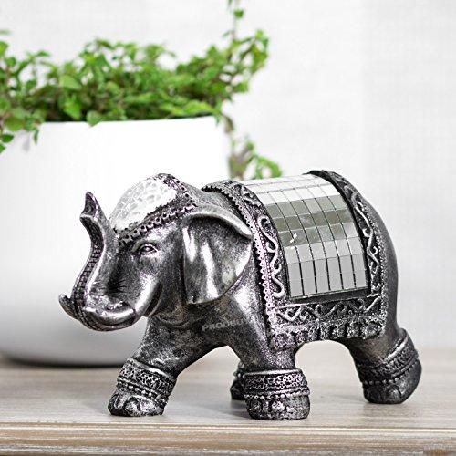Silver 18cm Mosaic Standing Elephant Decorative Ornament Cute Figurine Sculpture