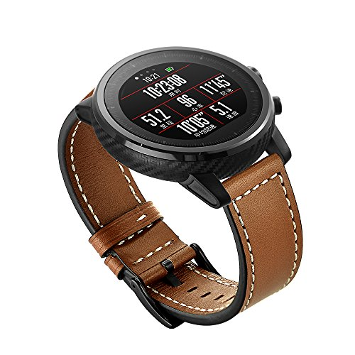 Aimtel For Huami Amazfit Stratos Correa de Piel de Repuesto Ajustable DE 22 mm para huami Amazfit Stratos Fitness Watch, Color AS-Brown
