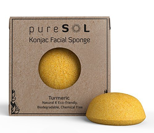 pureSOL Konjac Sponge - Turmeric - Facial Sponge, 100% Natural Sponge, Eco-friendly - Gentle Exfoliation, Deep Cleansing, Improved Skin Texture