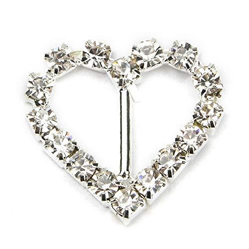 Wsere 15pezzi cuore d' argento/quadrato con strass fibbia, nastri Slider per sedia Sash wedding Invitation lettera DIY m Silver-heart
