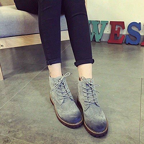 &zhou Bottes courtes femmes automne/hiver bottes de cuir plat chaud mode de démarrage marée Martin loisirs sauvages gray