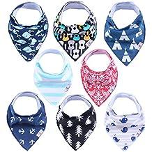 YaFex 8pcs Bandana Baberos del Bebé - Pañuelo Diseño de Triángulo de Impreso Algodòn Suave Baberos para Niños y Niñas Unisex