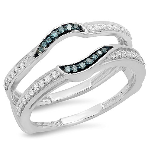 DazzlingRock Collection 10 carats Or blanc Rond IJ Bleu Diamant blanc Diamant bleu