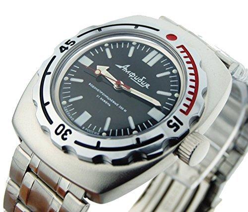 Wostok Amphibian 090916Russische Uhr für Tauchen Armbanduhr Mechanische Edelstahl Automatik schwarz