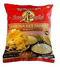 Swadbandhu Kathiyawadi Rice Papad - Khichia Rice Papad - Red Chilli Flavoured Papad - Hygienically Prepared - Ready to Fry/Roast Papadums - Best Meal Accompaniment - 600g (200g x Pack of 3)