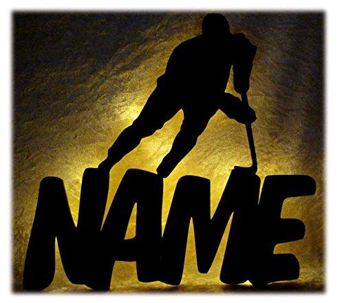 Wand Sport Lampe Eis Hockey mit Name, Geschenk für Eishockey Sportler Wohnzimmer Schlafzimmer Deko ()