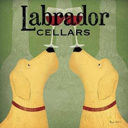 Feelingathome- imprimer-sur-toile-100%coton-Deux-Labrador-Wine-Dogs-Place-cm57x57-affiche-reproduction-gravure-