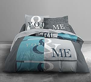 Today 016036 Enjoy You & Me Parure de lit avec Housse de couette/2 Taies d'oreiller Coton Gris/Blanc/Bleu 220 x 240 cm