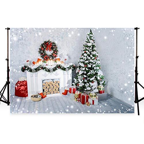 WaW 10x6.5ft Foto Hintergrund Weihnachtsbaum Innenraum Weihnachten Kamin Fotografie Hintergrund Fotoshooting für Foto Studio weiße Wand Familienfest Feiern Kunst Foto Shooting Mikrofaser(3x2m)