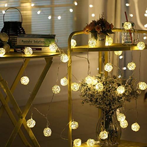 Temperate Ac/battery Led Christmas Outdoor String Light 20 Pink Rattan Balls Wedding Fairy Holiday Garden Room Decor Garland Light Led String
