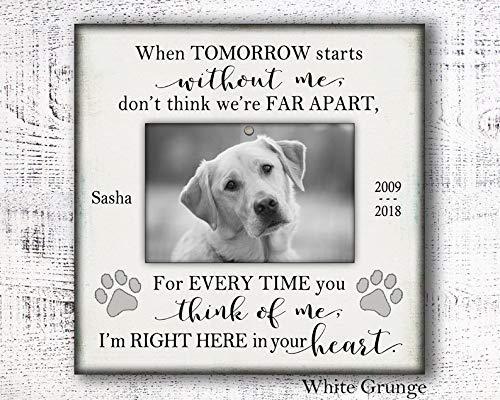 CELYCASY Trauergeschenk für Haustiere, Gedenktafel, Gedenktafel für Haustiere, Personalisiertes Geschenk für Haustiere, Gedenktafel für Hund, Geschenk für Hunde, Bilderrahmen