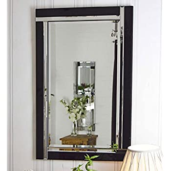 black and silver bevelled venetian wall mirror 3ft x 2ft 91cm x rh amazon co uk