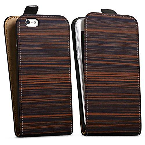 Apple iPhone X Silikon Hülle Case Schutzhülle Makassar Holz Look Downflip Tasche schwarz