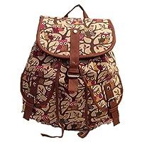 Girls Ladies Animal Owl Print Canvas bag Rucksack Backpack School bag (Beige)