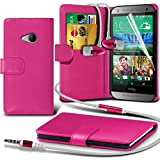 ( Hot Pink ) HTC One Mini 2 Ledergeldbörse Flip Hülle Tasche Mit-Schirm-Schutz-Schutz & Aluminium In Ear Ohrhörer Stereo-Kopfhörer-Kopfhörer Hands Free-Headset mit Mikrofon Mic & On-Off-Taste Einbau By i-Tronixs