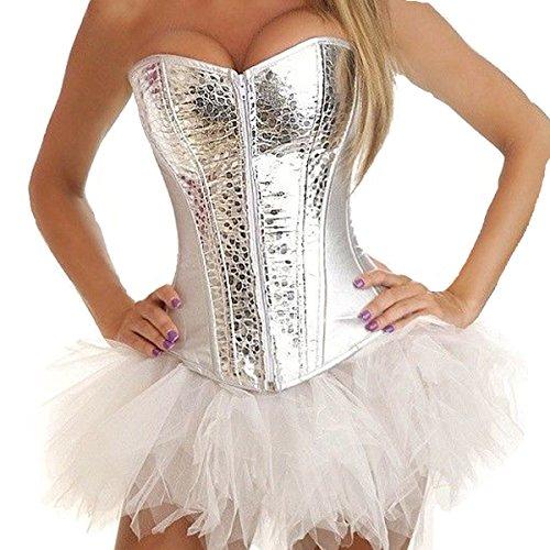 (Corsage Korsett Gothic Kunstleder Shirt Bustier Korsage Kleid Mini Rock Tutu Tütü (EUR(38-40) XL, Silver))