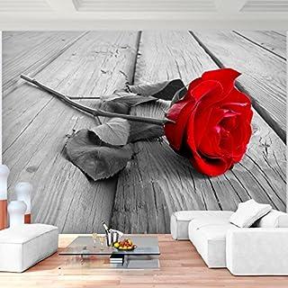 SENSATIONSPREIS Fototapete Blumen Rose Holz Rot Grau 352 X 250 Cm Vlies  Wand Tapete Wohnzimmer Schlafzimmer