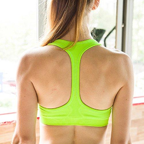 Soutien-Gorge Femme Fitness Sport Sans Armature Sous-Vêtements Push Up Brassière Bra avec Bretelles Gilet Simple pour Yoga Sports Course Vert Fluorescent
