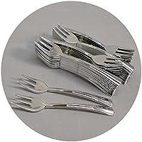Mashers Tenedores de postre desechables de plástico con efecto plateado – Pack de, plástico, Plateado, Mini Forks