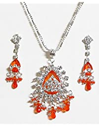 DollsofIndia Saffron Stone Studded Pendant With Chain And Earrings - Stone, Bead And Metal (AK13-mod) - Saffron