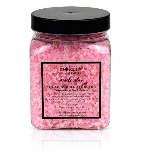 Badesalz und Schaumbad - Hergestellt in Großbritannien (450 g) Natürliches Salz aus dem Toten Meer für Damen, Herren, Mädchen und Kinder. Luxus-Detox mit ätherischen Ölen