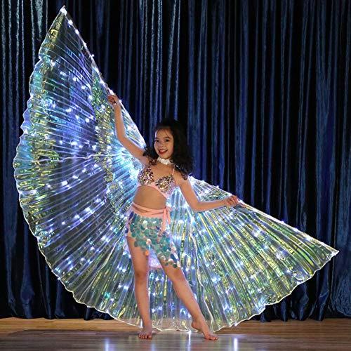 Bauchtanz LED Angel Isis Wings Mit Flexiblen Sticks Halloween Party Leuchten Requisiten Party Club Wear Mit Flexiblen Sticks Für Kinder/Mädchen,WhiteLight (Halloween Anweisungen Requisiten)