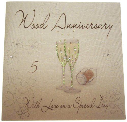 WHITE COTTON CARDS WA5 Glückwunschkarte zum 5. Hochzeitstag, Motiv: Champagne-Gläser, handgefertigt, Weiß, englischsprachige Aufschrift